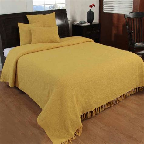 yellow handwoven large throw bedspread sofa bed blanket