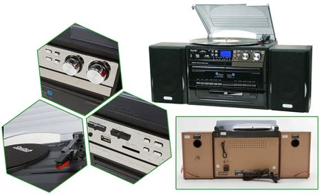 stereo cassette player stereo system turntable vinyl record player w dual