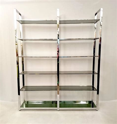 large chrome and glass bookshelf etager 233 at 1stdibs