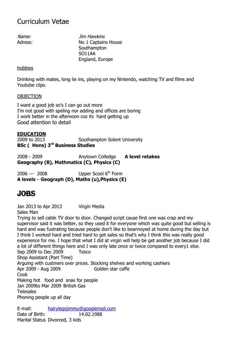 exle cv for gcse student 195 ƒ 194 cv in english