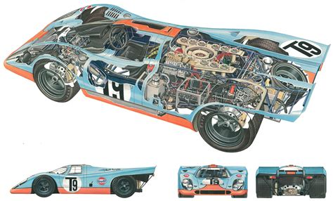 Porsche 917 Sketches Of Success by Porsche 917 Cutaway Drawing In High Quality