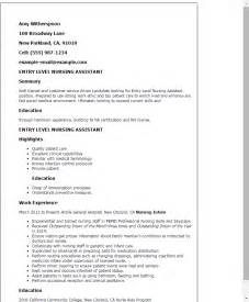 entry level cna resume sle nursing aide resume skills