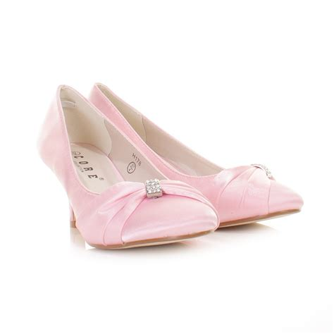 bridal shoes baby pink kitten heel satin wedding
