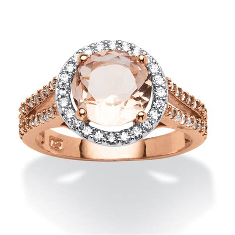 palmbeach jewelry 50 tcw morganite and cz halo ring