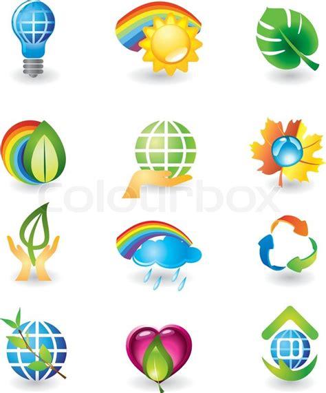 rainbow house beautiful nature phenomenon vector logo icon nature icon set stock vector colourbox