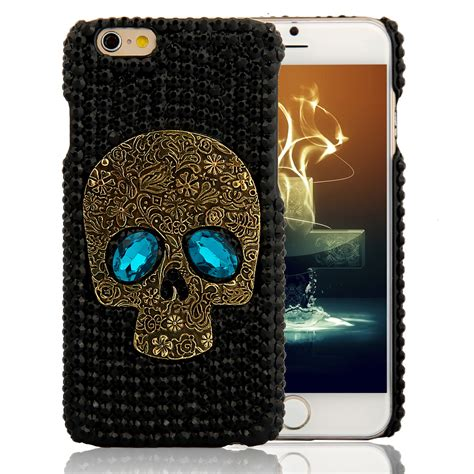 handmade metal saphire eye skull back cover phone