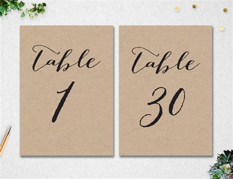 free printable wedding table numbers 1 30 table numbers 1 30 instant download 5x7 wedding