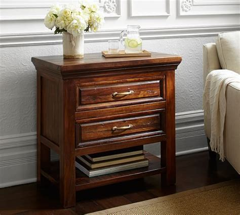 bowry reclaimed wood bedside table pottery barn