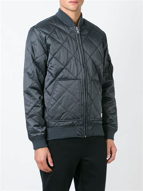 Adidas Quilted Bomber Jacket by Adidas Originals Quilted Bomber Jacket In Gray For Lyst