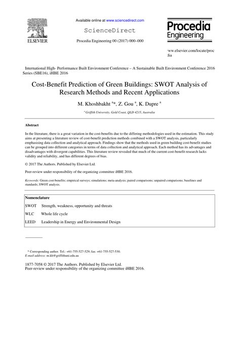 Methodologies For Service Prediction Of Buildings cost benefit prediction of green pdf available