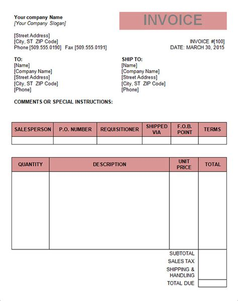 excel tax invoice template 16 tax invoice template free documents in word