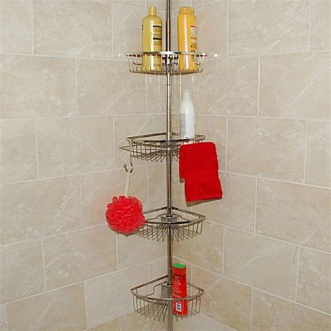 bathroom tension pole caddy buy stainless steel tension pole shower caddy from bed bath beyond