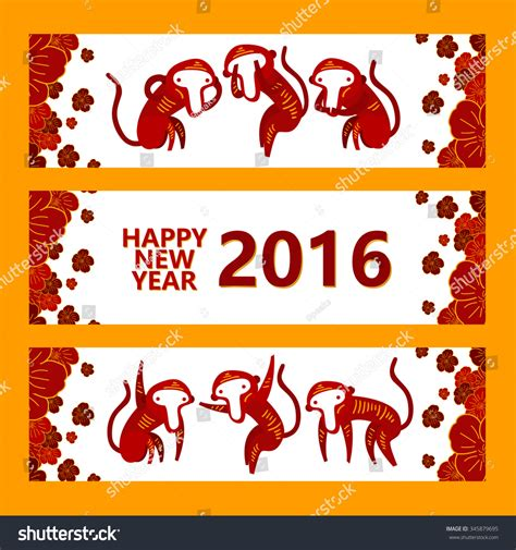 new year 2016 year of the monkey symbol happy new year 2016 banner year of the monkey vector