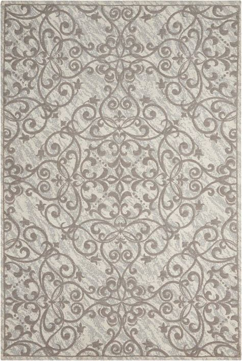 Grey Damask Rug by Nourison Damask Das02 Ivory Grey Rug