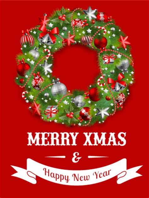 red christmas wreath card birthday greeting cards  davia
