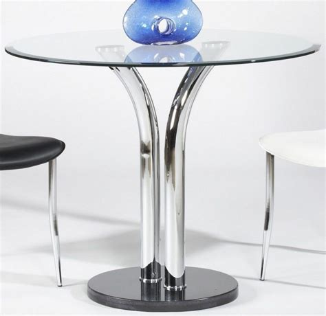 Furniture Round Glass Top Dining Table With Metal Dining Table Pedestals For Glass Tops