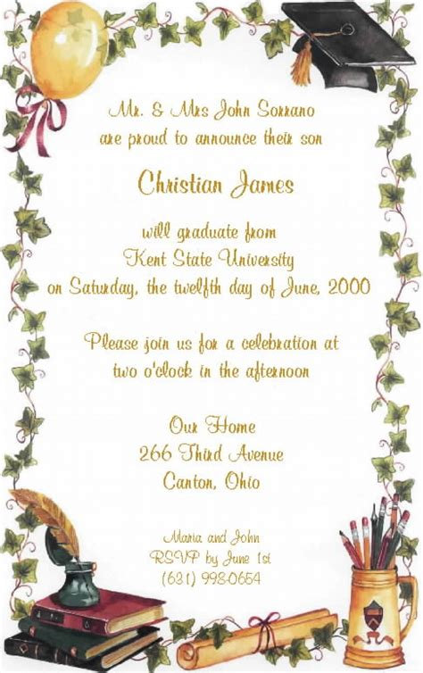 invitation cards templates for graduation tips easy to create graduation invitation wording