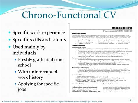Chrono Functional Resume by Chrono Functional Cv Specific Work