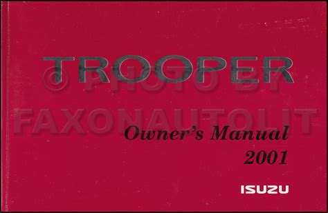 security system 2001 isuzu trooper user handbook 2001 isuzu trooper owner s manual original