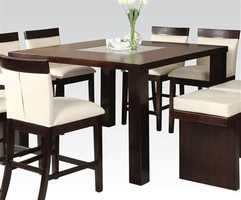 Counter Top Dining Table Acme Keelin Counter Height Table With Insert Table Top In Espresso 71040 Clearance By Dining