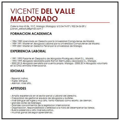 Resume Vitae by Modelo Cv Espanol Muestra Curriculum Vitae