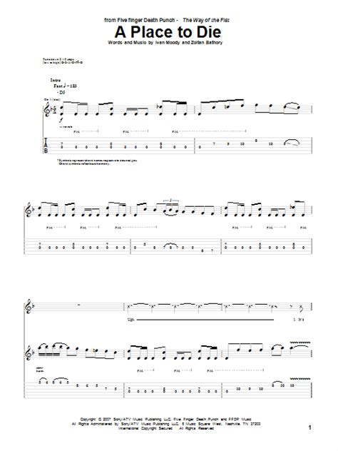 A Place Chords A Place To Die By Five Finger Punch Guitar Tab Guitar Instructor