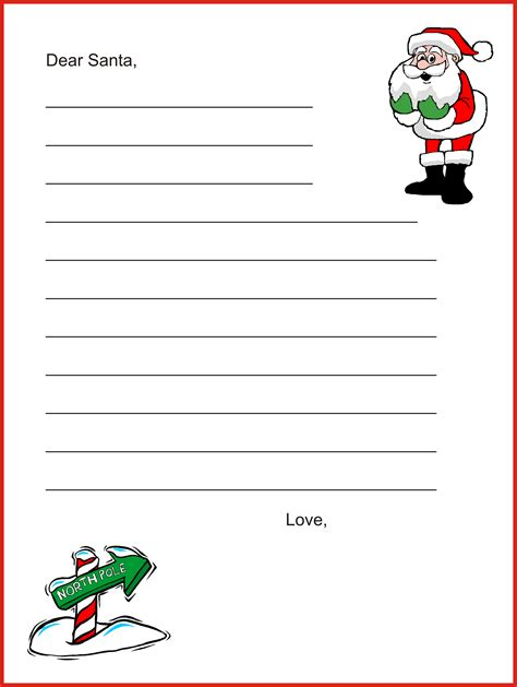 printable christmas paper letter to santa template with lines 10