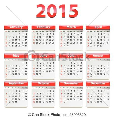 Calendario En Ingles 2015 Ilustraciones De Vectores De 2015 Calendario Ingl 233 S