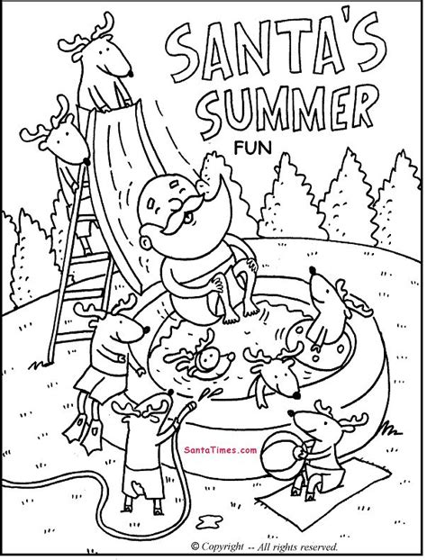 beach santa coloring page 28 best fun printable coloring activity pages images on