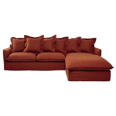 linen corner sofa 7 seater washed linen corner sofa in brick red barcelone