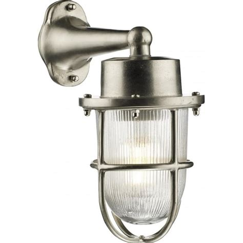 Nautical Style Outdoor Lighting Nickel Outdoor Wall Light In Traditional Nautical Styling Ribbed Glass