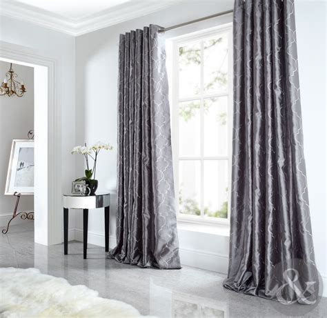 Sicily Curtains Luxury Faux Silk Silver Grey Embroidered Lined Eyelet Curtain   eBay