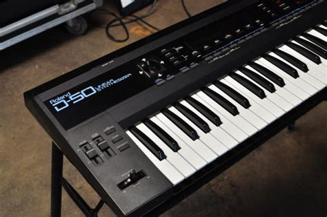 Keyboard Roland D50 roland d50 61 key linear synth 2000s black reverb