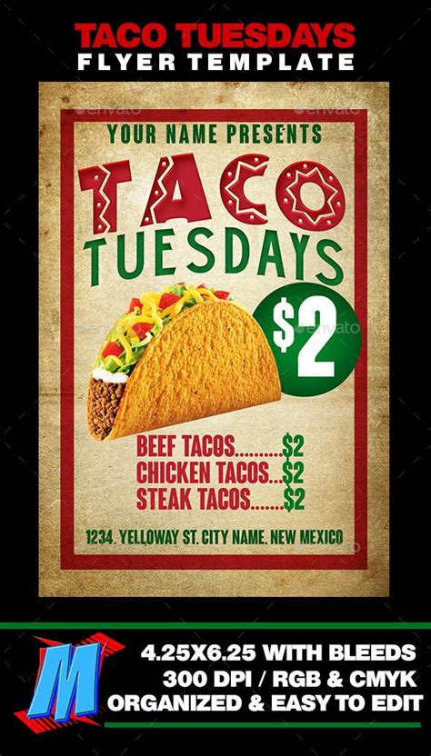 taco tuesdays flyer template templates flyers and tacos