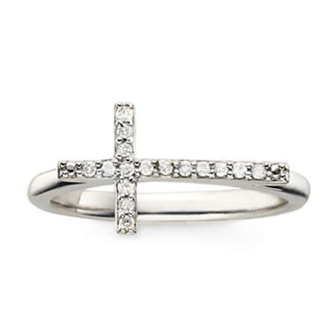 1 10 ct t w cross sterling silver ring jcpenney