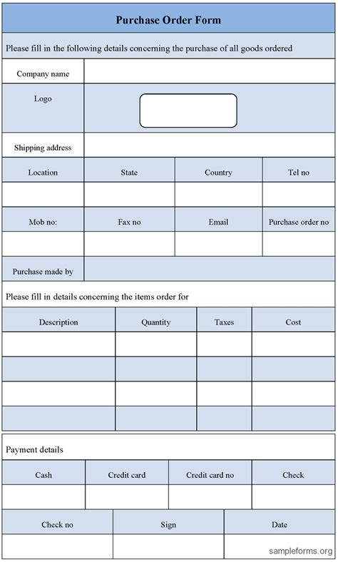 Purchase Form Template purchase order form template sle purchase order form template sle forms