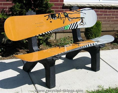 snowboard bench kit recycled snowboard ideas recycled things