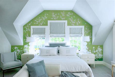 green accent wall bedroom green and blue bedroom transitional bedroom studio mcgee