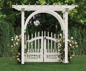 Decorative Lattice Panels Arched Arbor With A Westchester Double Gate Wood Arbors