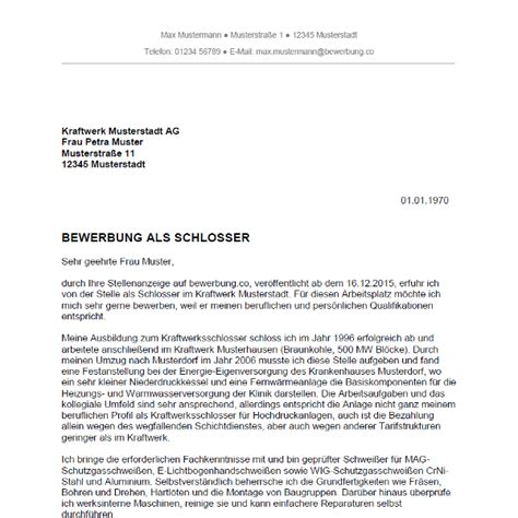 Anschreiben Praktikum Industrie Bewerbung Als Schlosser Schlosserin Bewerbung Co