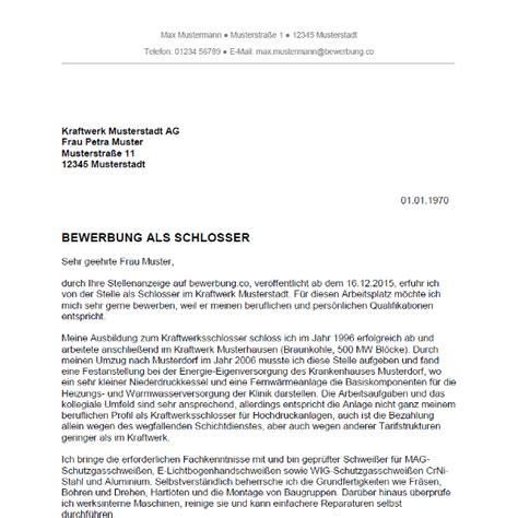 Bewerbung als Schlosser / Schlosserin   Bewerbung.co