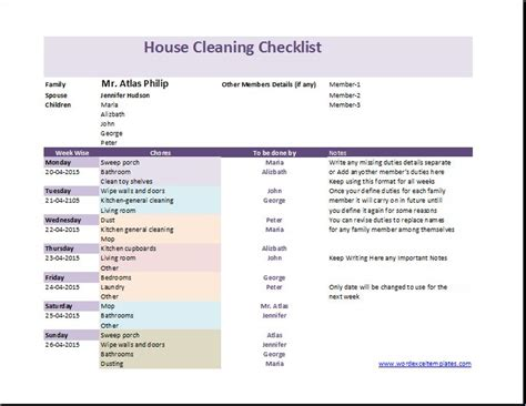 housekeeping application exle printable word doc housecleaning checklist 1