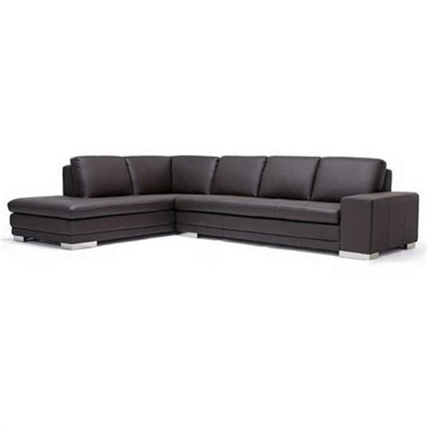 Callidora Leather Reverse Sectional Sofa In Dark Brown