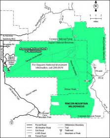 rincon map rincon mountain wilderness national wilderness areas in