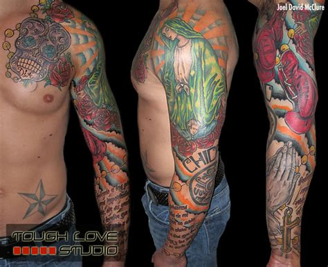mexican tattoos sleeves mexican family tribute sleeve joel david mcclure