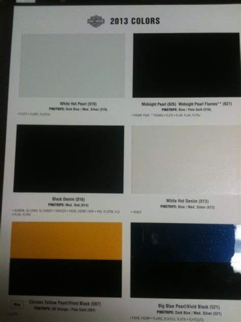 2014 harley davidson color chart bed mattress sale