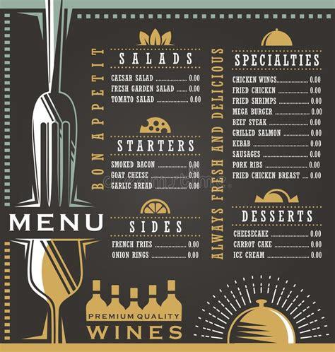 layout menu bar wine and food menu design concept stock vector