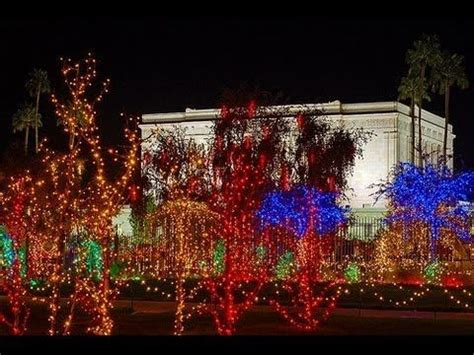 christmas lights on the mesa arizona temple grounds the