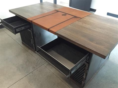 modern industrial desk handmade modern industrial desk with custom leather