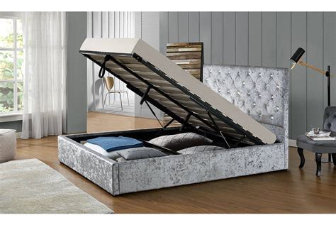 fabric ottoman storage bed chatsworth ottoman storage crushed silver fabric bed